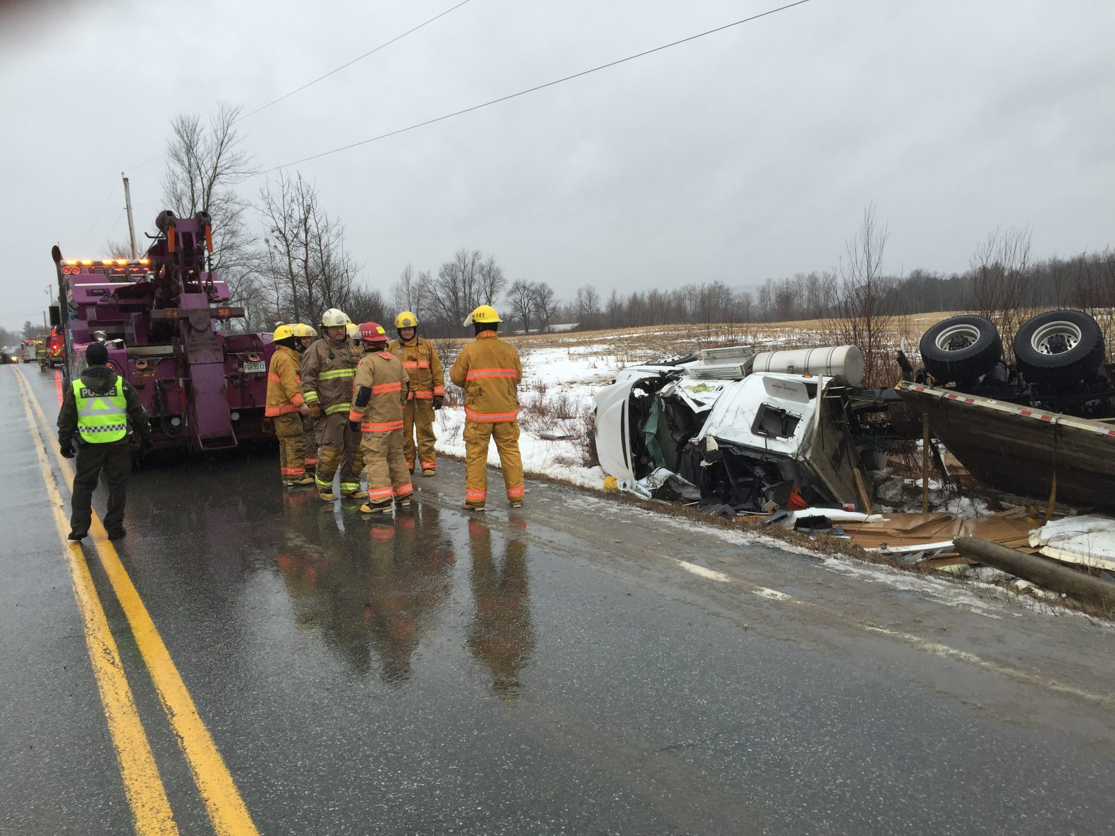 overturned truck on Route 143