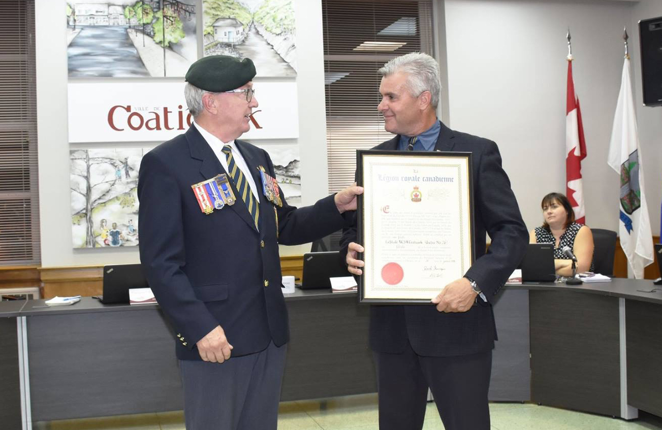 Legion Branch 026 officially  named HMCS Coaticook