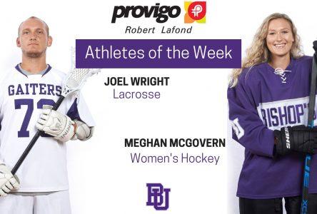 McGovern and Wright named Provigo, Robert Lafond Bishop's Athletes of the Week