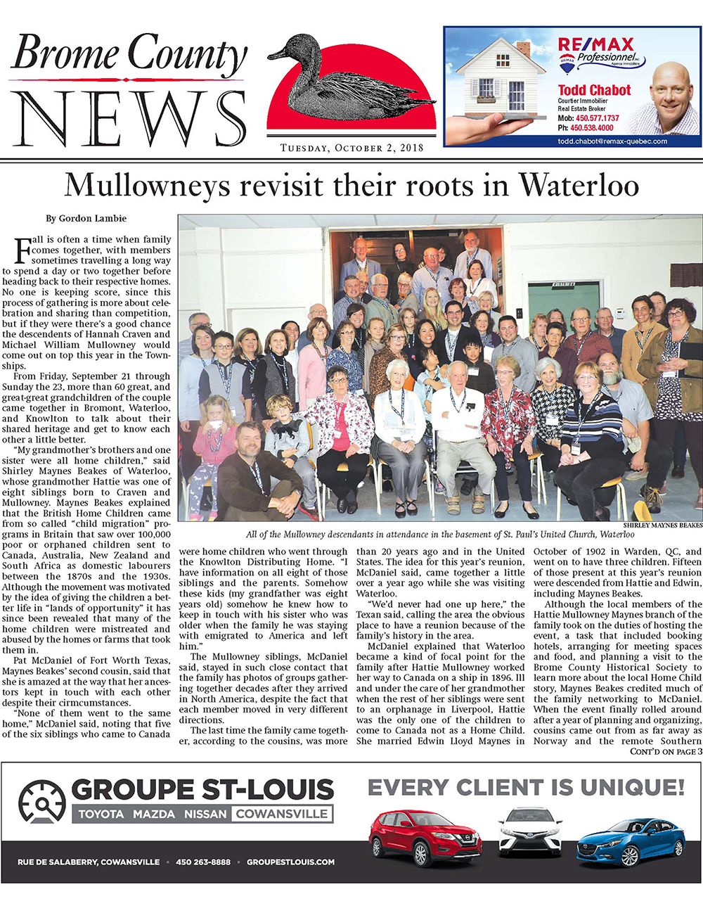 Brome County News – October 2, 2018 edition