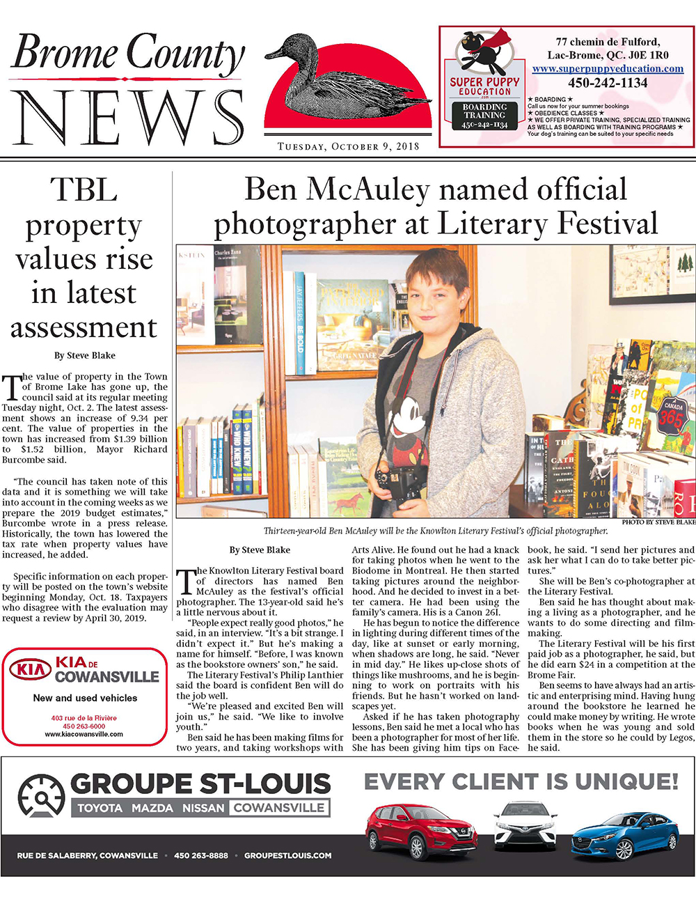 Brome County News – Tuesday, October 9 edition