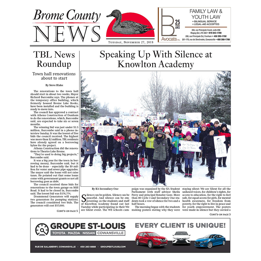 Brome County News – Tuesday, Nov. 27 edition