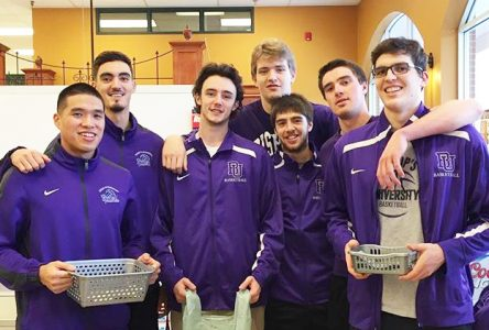 Gaiters trade hoops for groceries for the Galt Christmas Basket Fund
