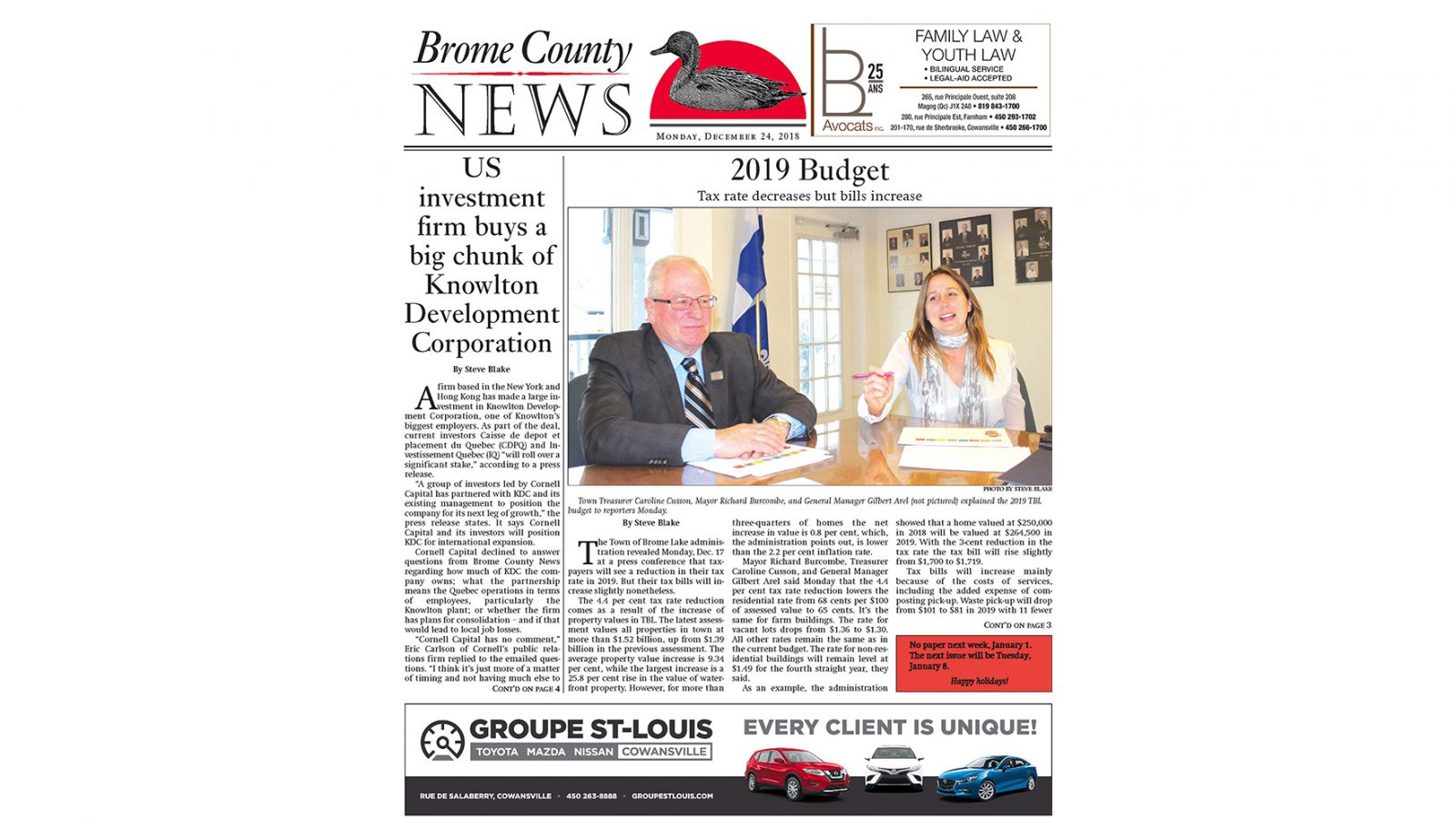 Brome County News – December 24, 2018 edition