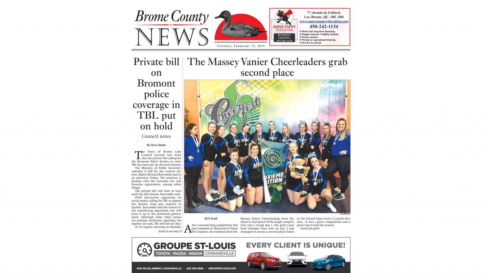 Brome County News – February 12, 2019 edition