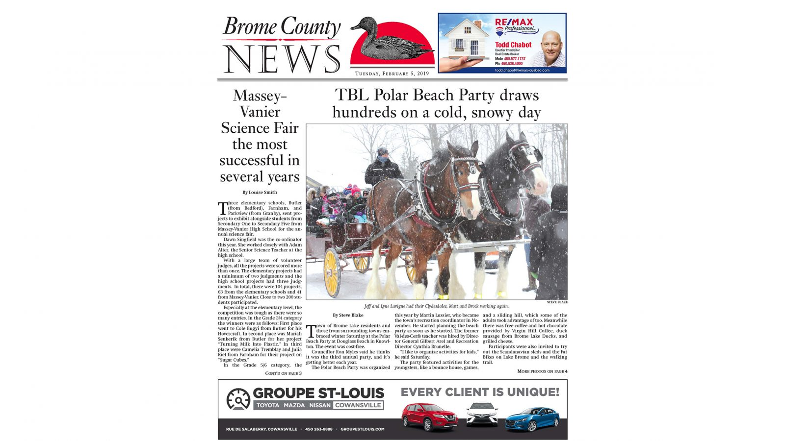 Brome County News – Tuesday, Feb. 5 edition