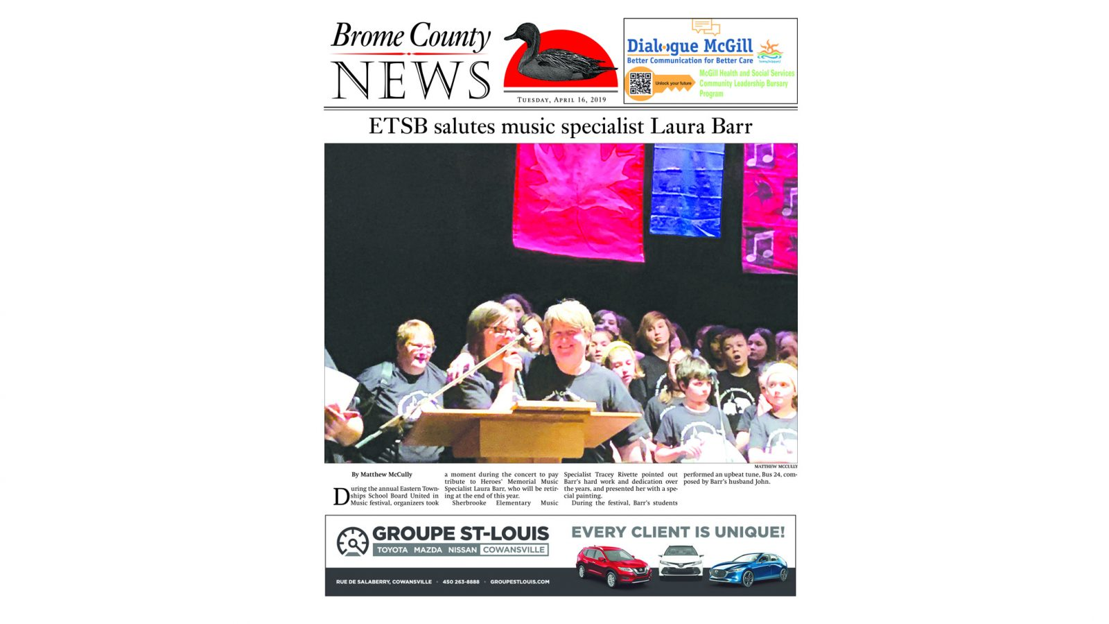 Brome County News: April 16, 2019 edition