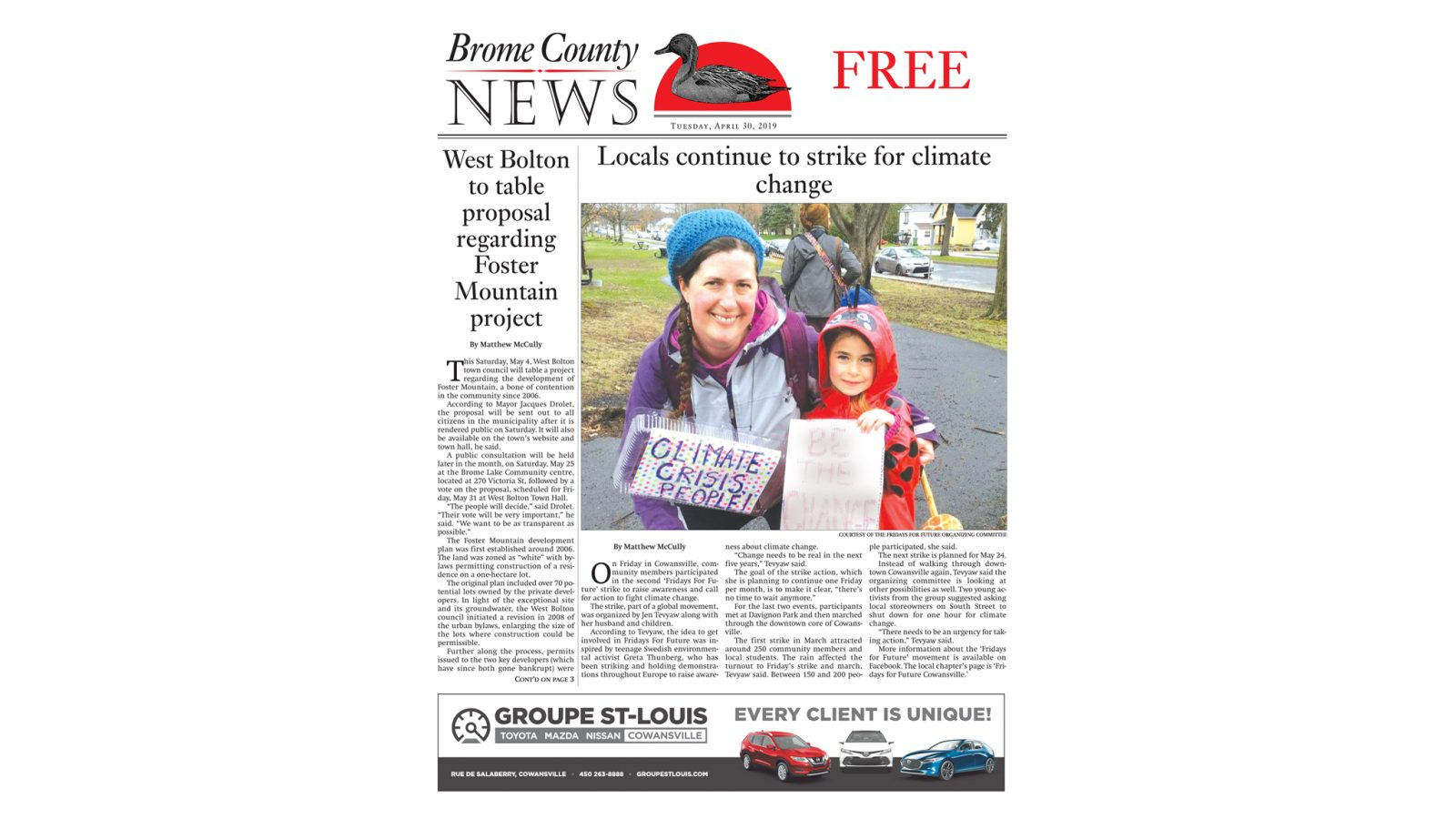 Brome County News, April 30, 2019 edition