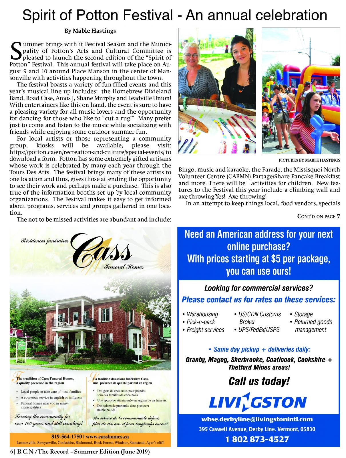Summer in the Townships - June 2019 - Sherbrooke Record