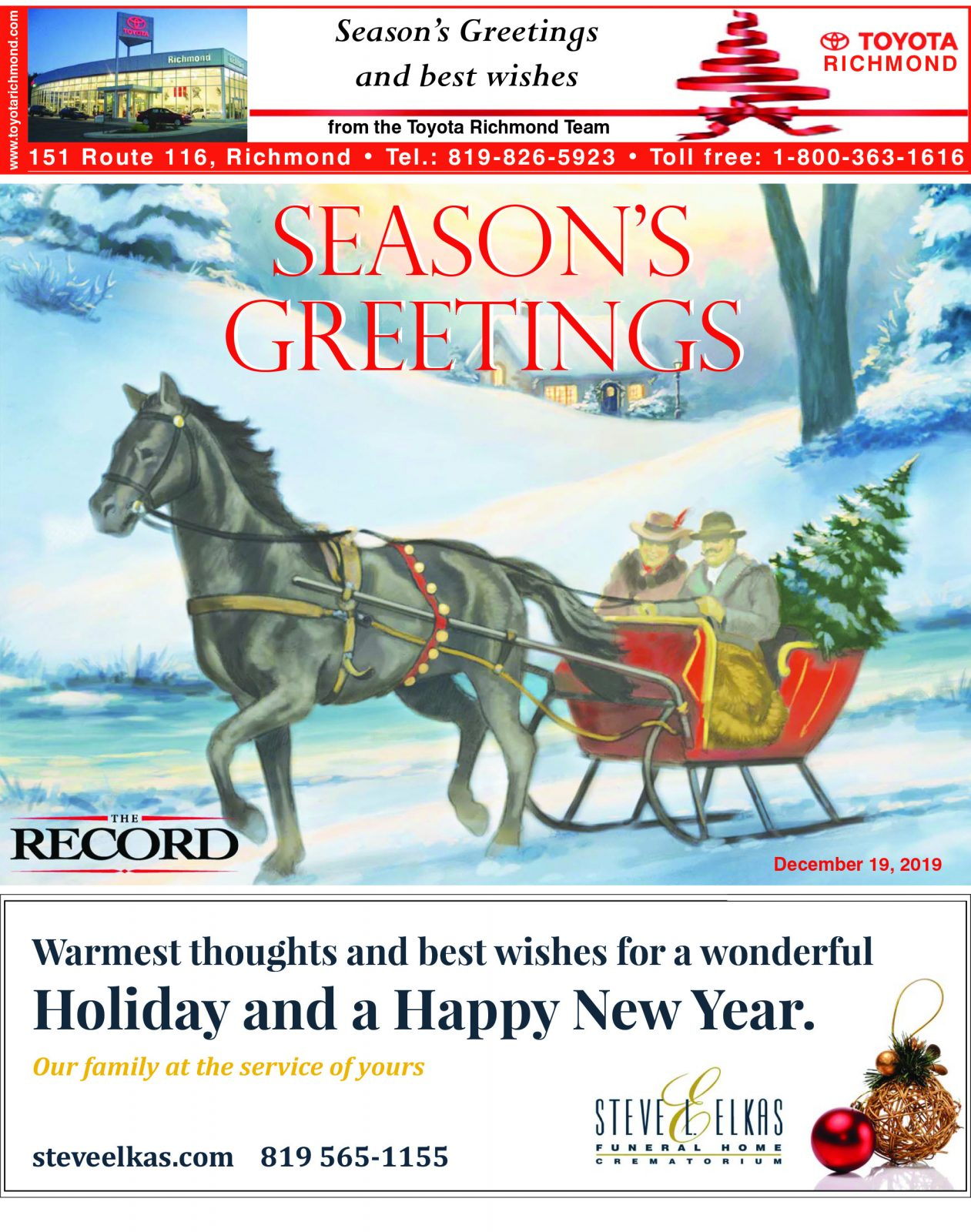 Season's Greetings – Special Supplement to The Record December, 2019