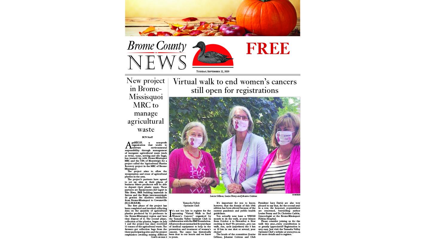 Brome County News – Sept. 22, 2020 edition