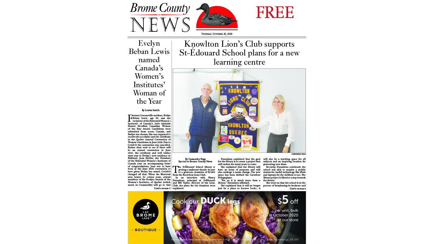 Brome County News – Oct. 20, 2020 edition