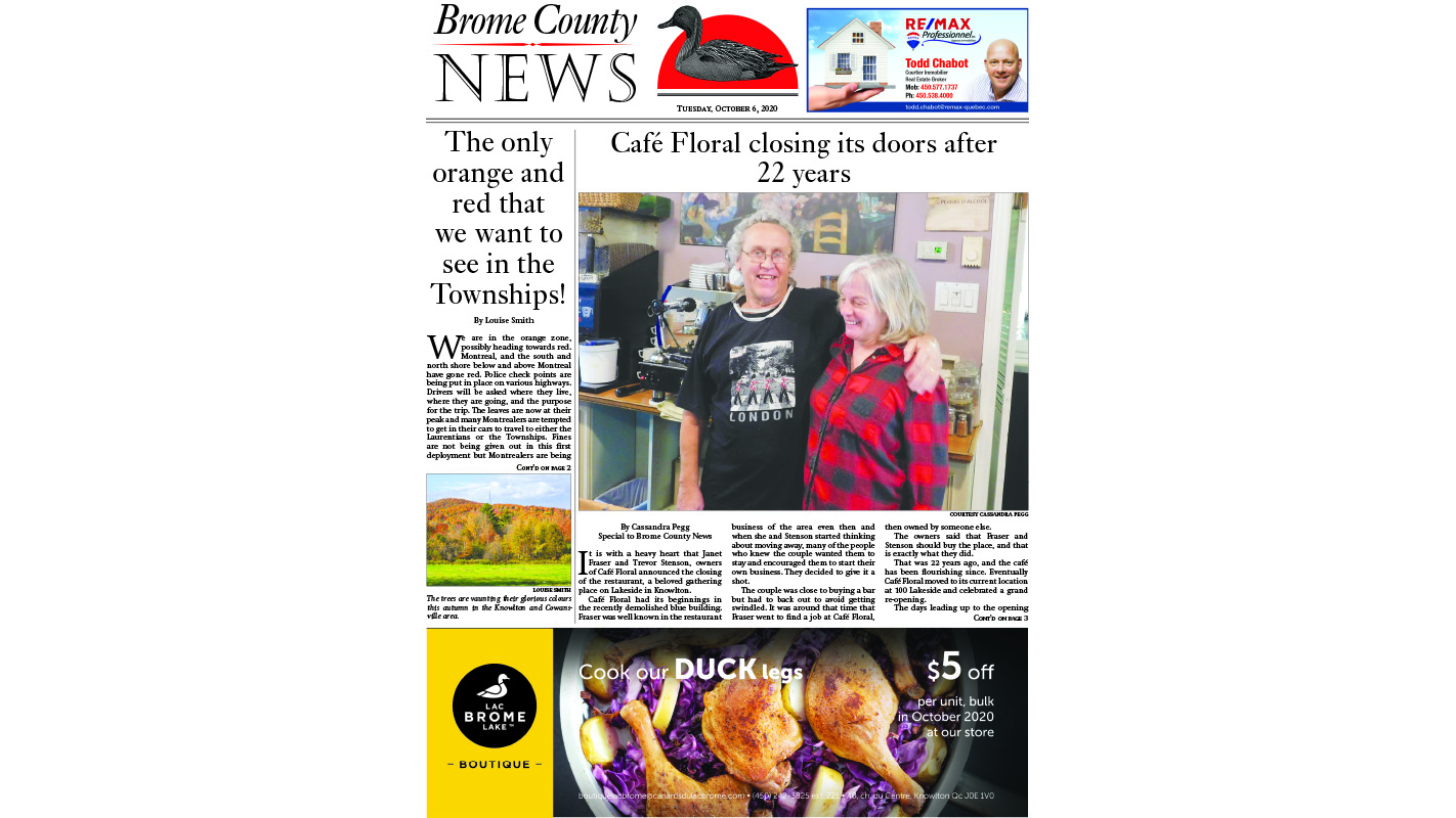 Brome County News – October 6, 2020 edition