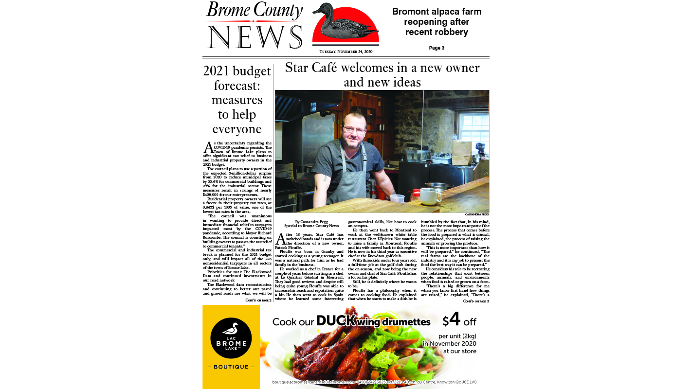 Brome County News – Nov. 24, 2020 edition