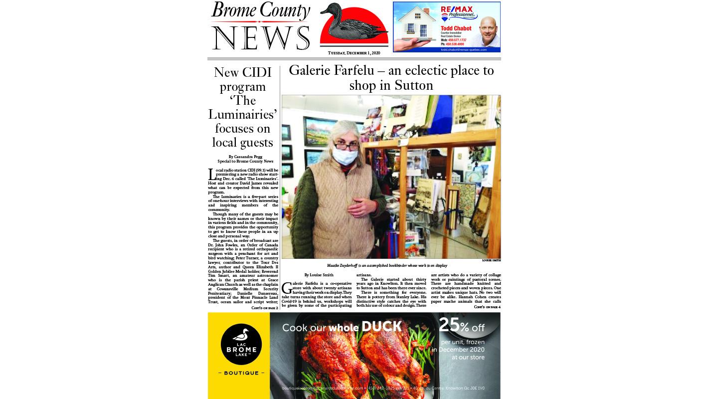 Brome County News – Dec. 1, 2020 edition