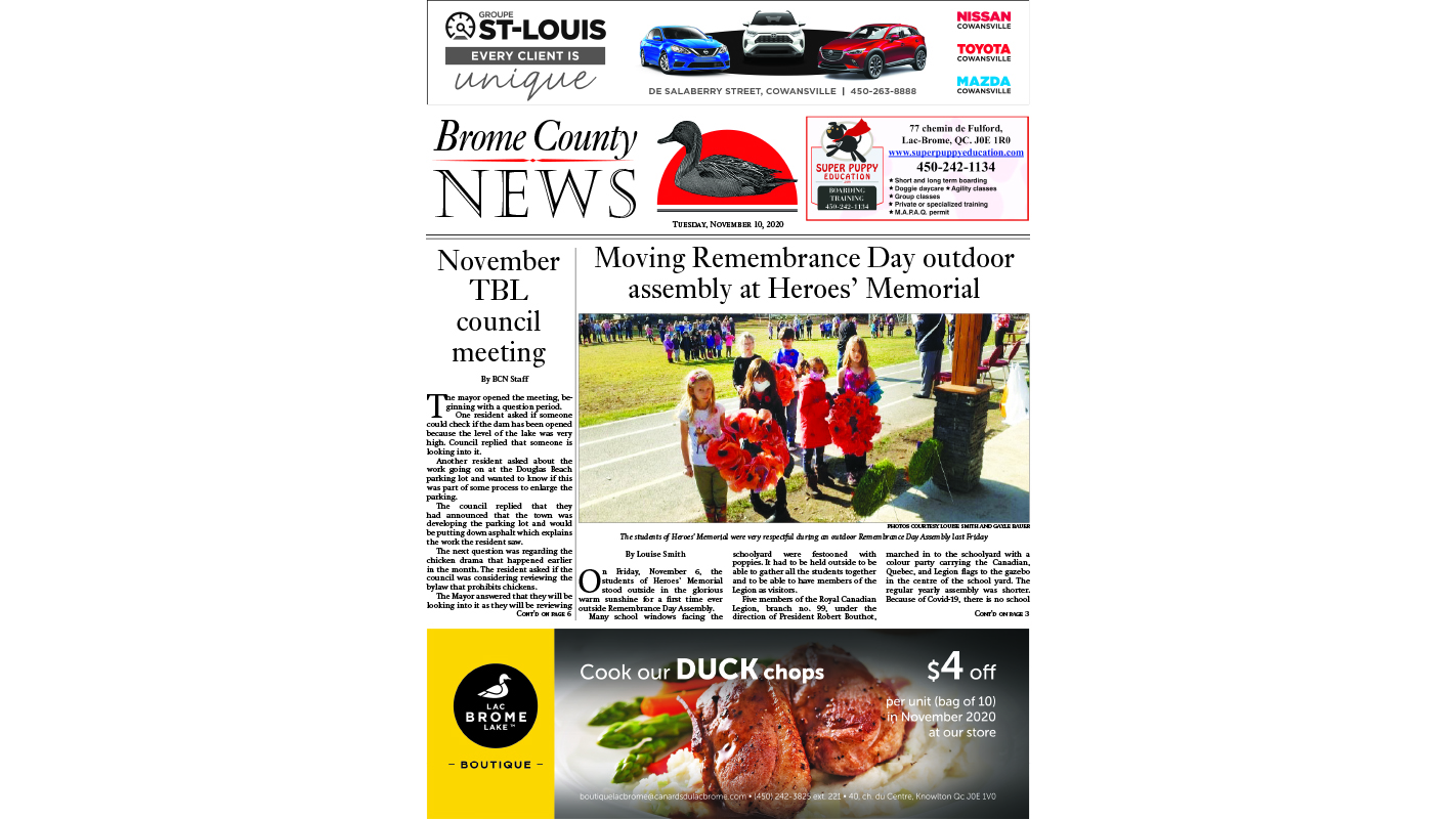 Brome County News – Nov. 10, 2020 edition