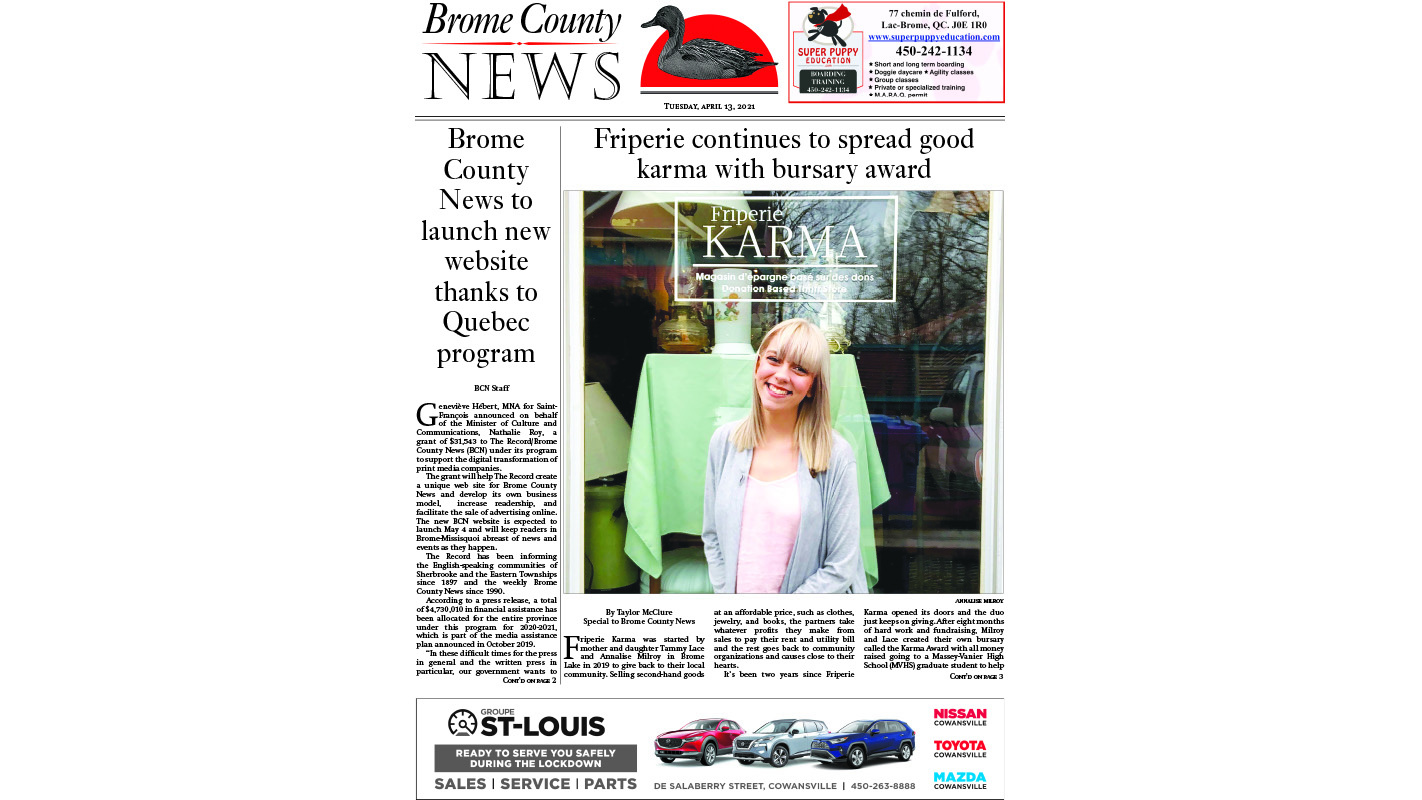Brome County News – April 13, 2021 edition