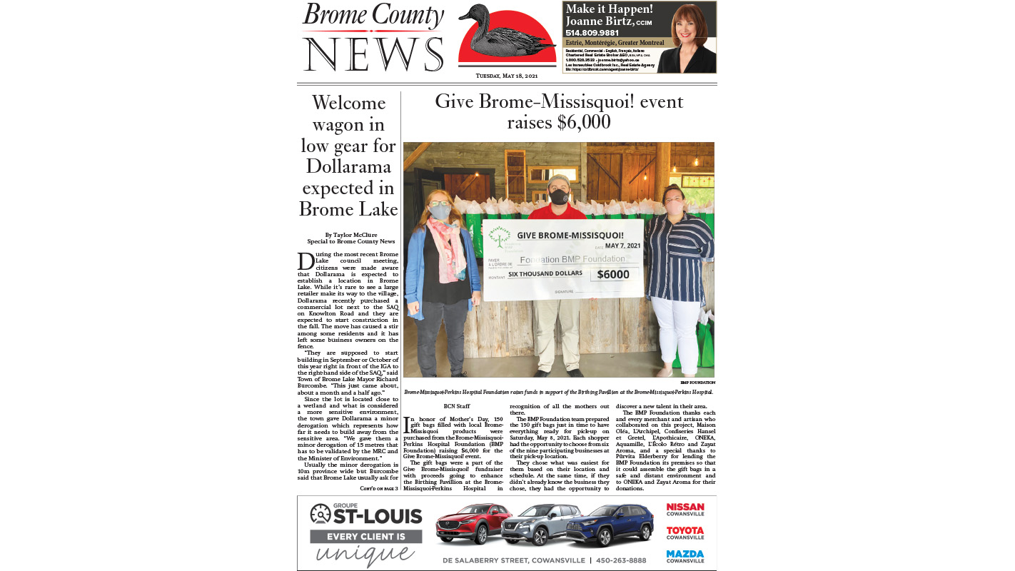 Read the entire May 18, 2021 edition of the Brome County News
