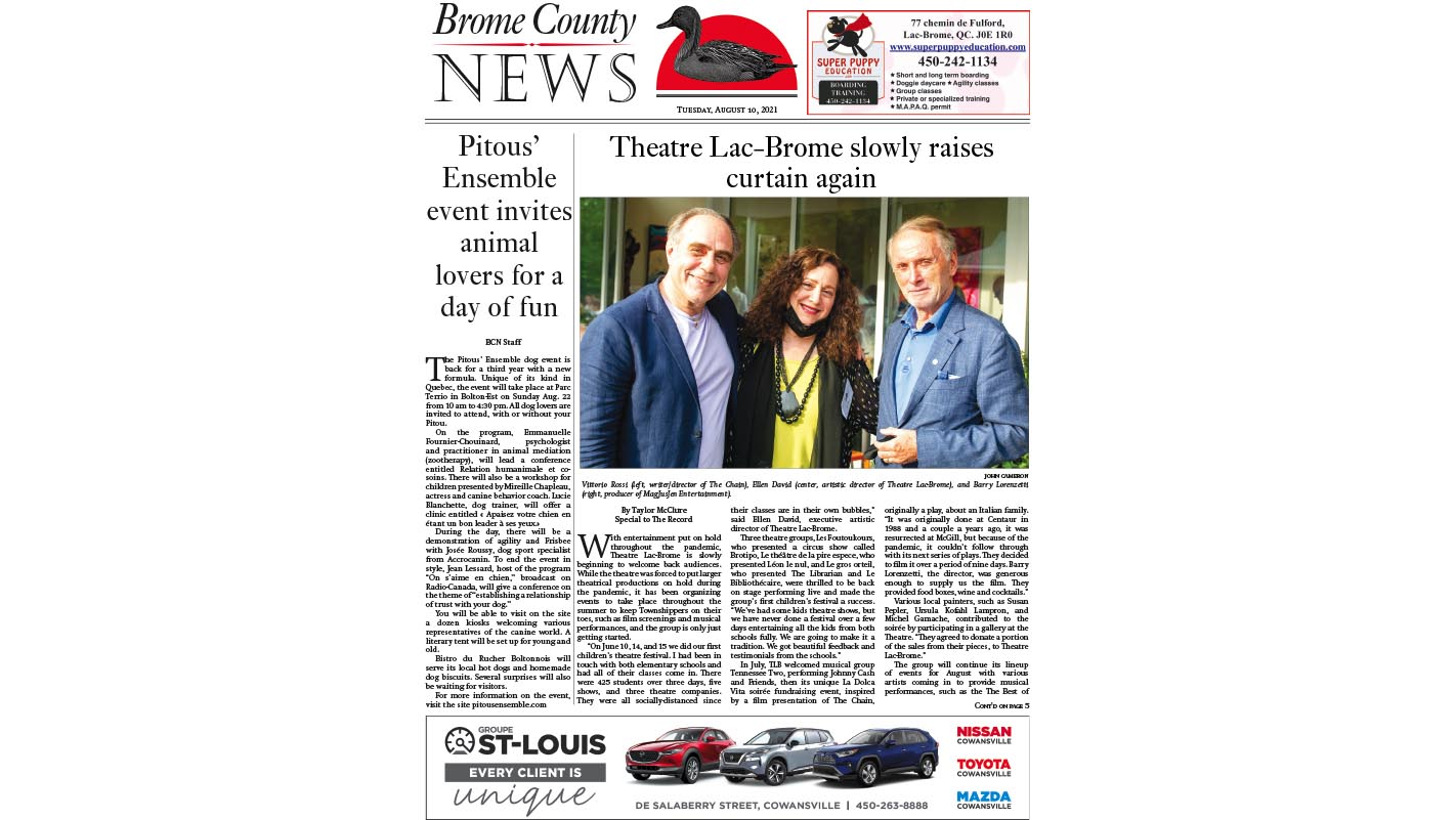 Read the entire Brome County News Aug. 10 edition online