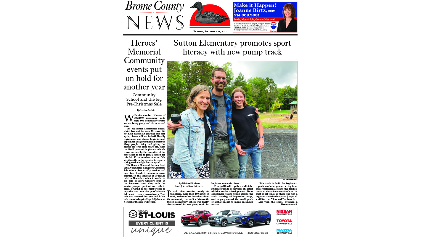 Brome County News,  Sept. 21 edition