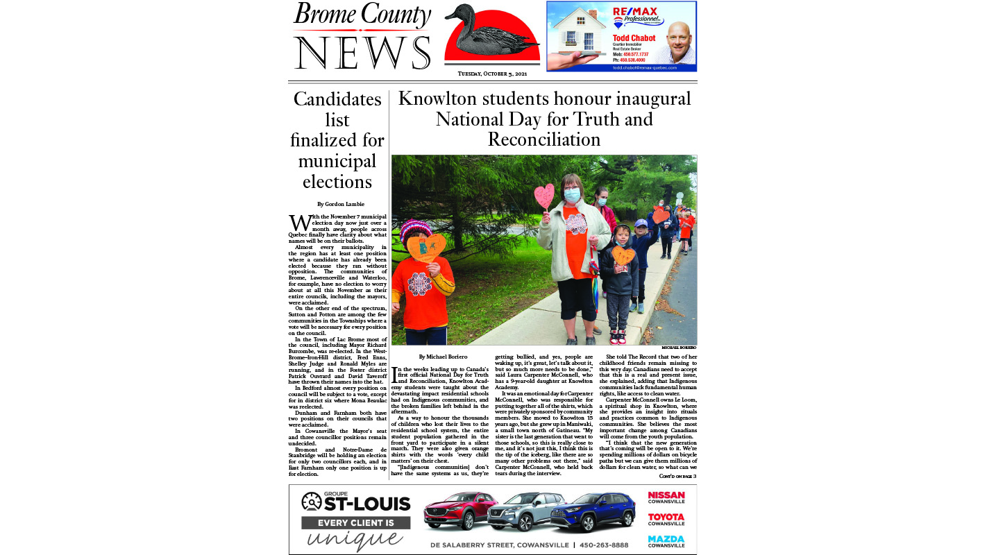 Brome County News – October 5, 2021 edition